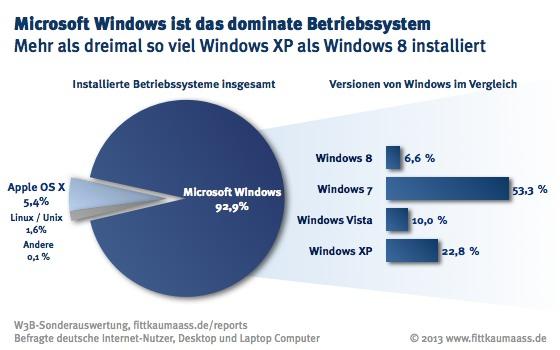 Microsoft Windows ist das dominante Betriebssystem, Windows XP dreimal häufiger installiert als Windows 8