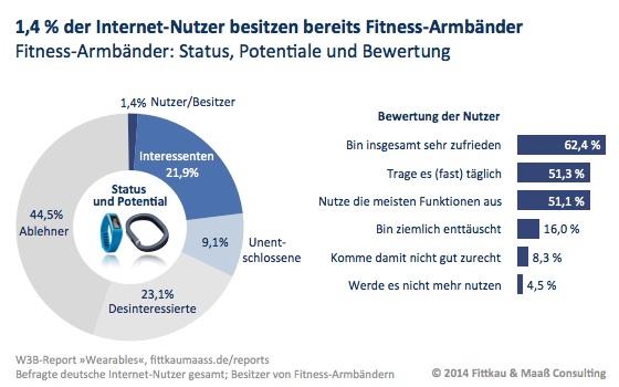 Ein Fitness-Armband besitzen bereits 1,4 % der Internet-Nutzer